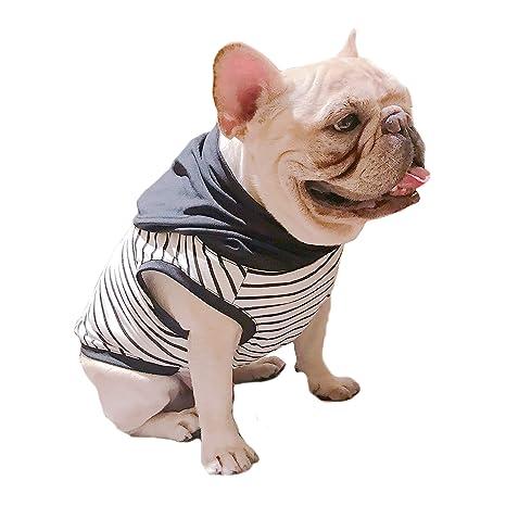 Rayas blancas negras con capucha para mascotas, ropa para perro bulldog francés o pug uso