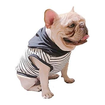 Frenchic Schwarz Weiß Gestreift mit Schwarz Hoodie Pet