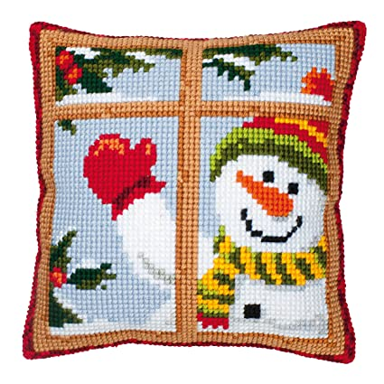 Amazon.com: Vervaco Snowman Looking Out Window Cross Stitch ...