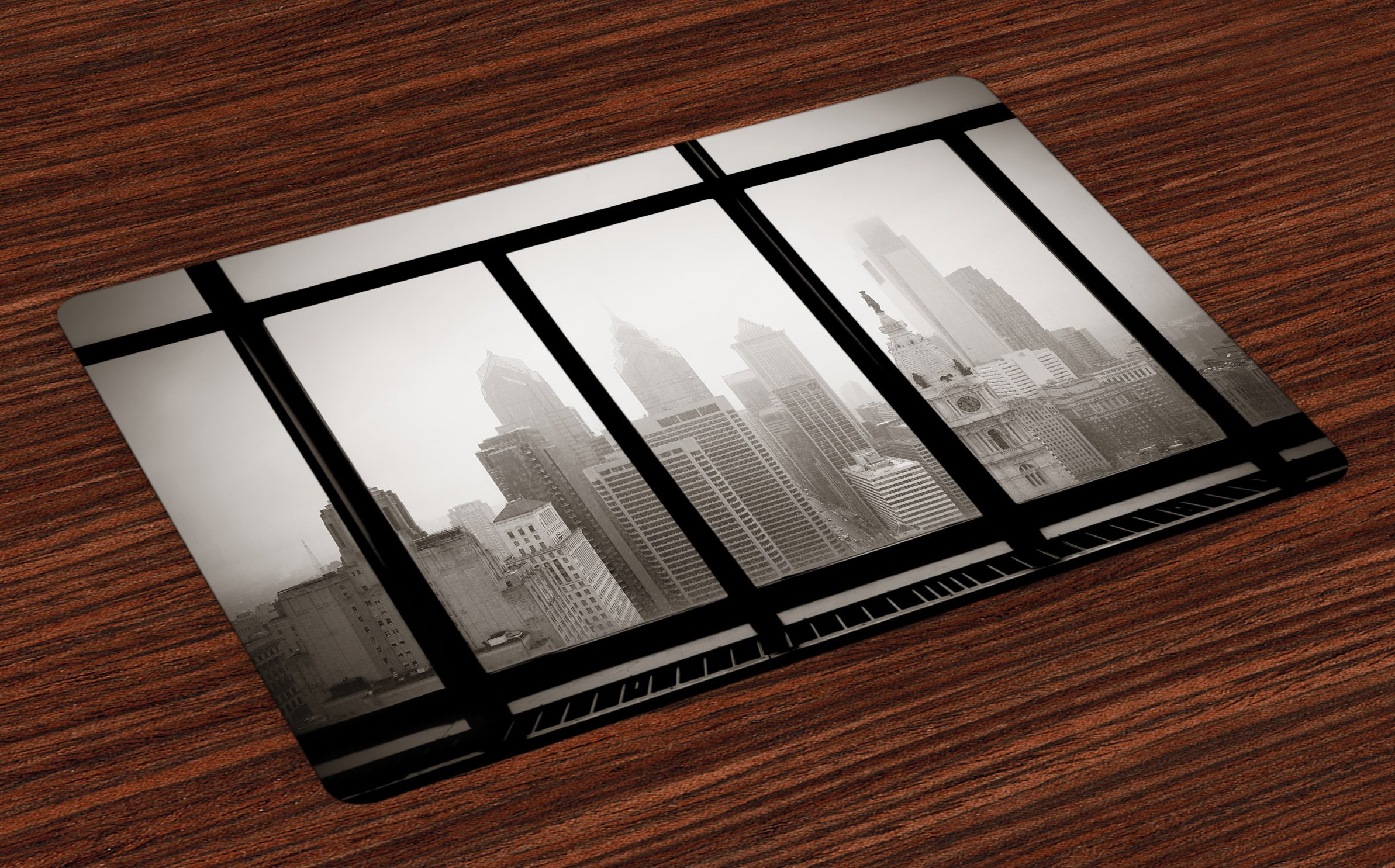 Ambesonne City Place Mats Set of 4, Philadelphia City Rooftop View Through Window Skyline Landmark Rooftop Travel, Washable Fabric Placemats for Dining Room Kitchen Table Decor, Dimgray and Black