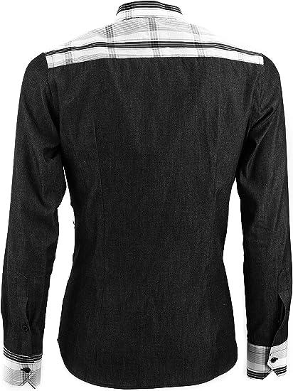 Silvano Calabrese - Camisa Vaquera Negra con Cortes diagonales y Cuello Coreano - Negro - Medium: Amazon.es: Ropa y accesorios
