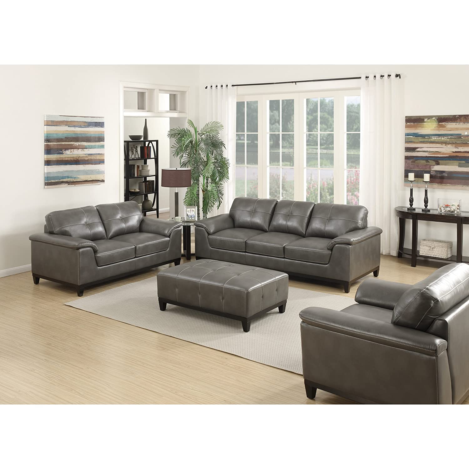 Amazon com emerald home marquis gray sofa with faux leather upholstery padded arms and contrast stitching kitchen dining