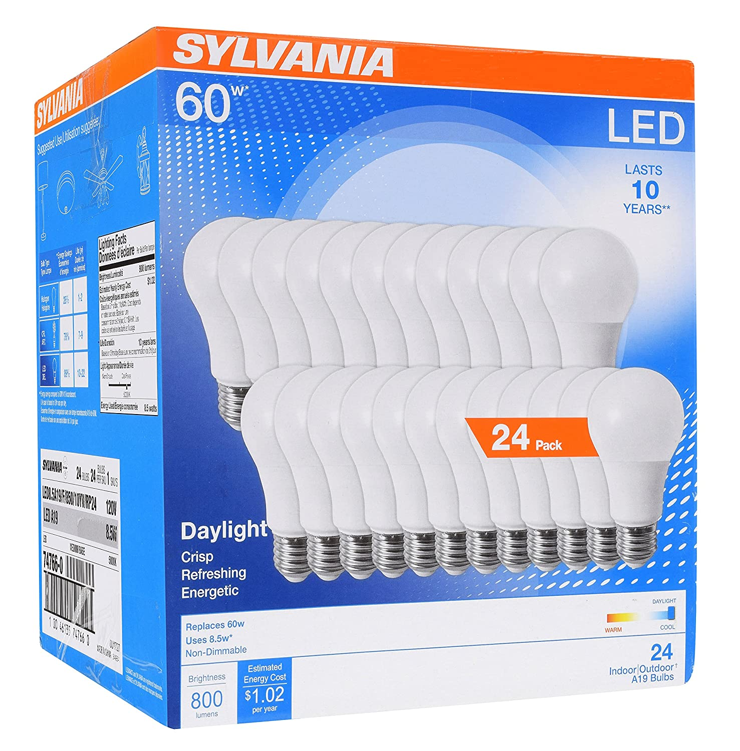 Sylvania Home Lighting 74766 Sylvania 60W Equivalent, LED Light Bulb, A19 Lamp, Efficient 8.5W, Bright White 5000K, 24 Pack Piece