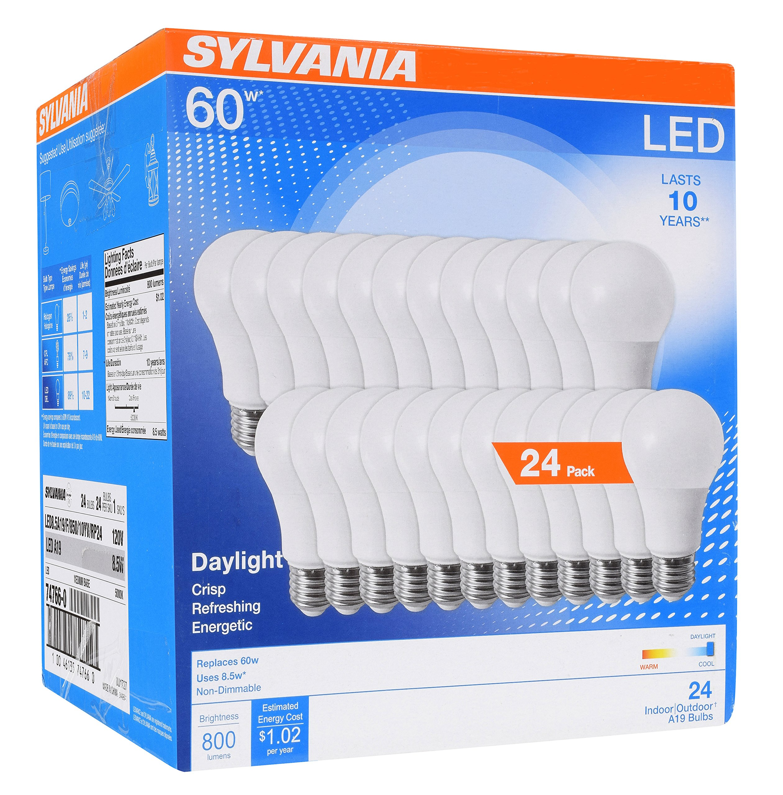 SYLVANIA General Lighting 74766 Sylvania 60W Equivalent, LED Light Bulb, A19 Lamp, Efficient 8.5W, Bright White 5000K, 24 Pack, Daylight, 24 Count by SYLVANIA General Lighting