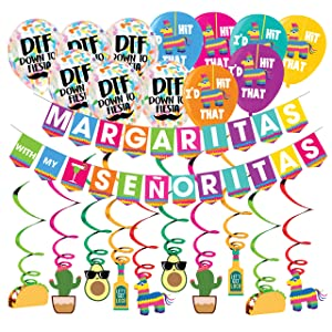 Margaritas With My Señoritas Pack -Funny Bachelorette Decorations -Mexican Fiesta Party – Cinco De Mayo -21st 30th 40th Birthday - Summer Themed Beach and Pool Party Decoration, Favors & Supplies