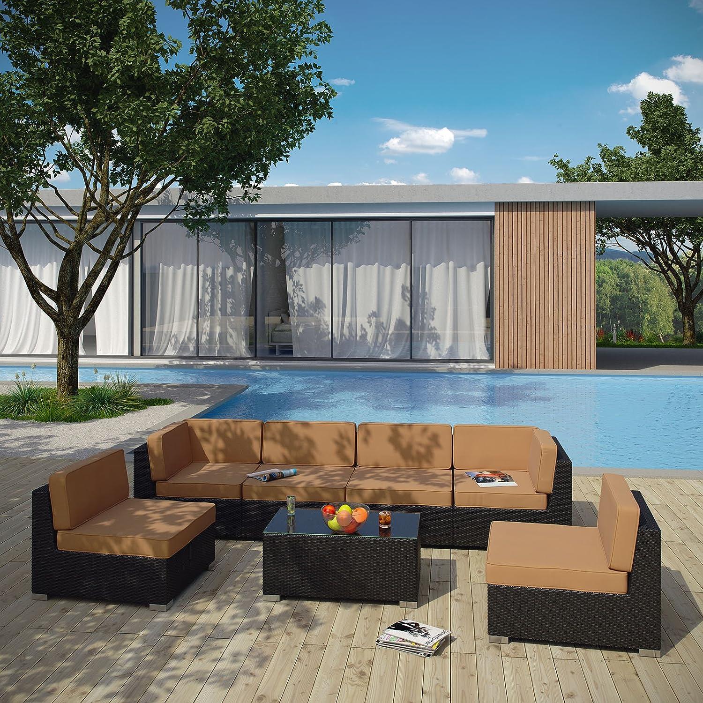 amazon com modway aero outdoor wicker patio 7 piece sectional
