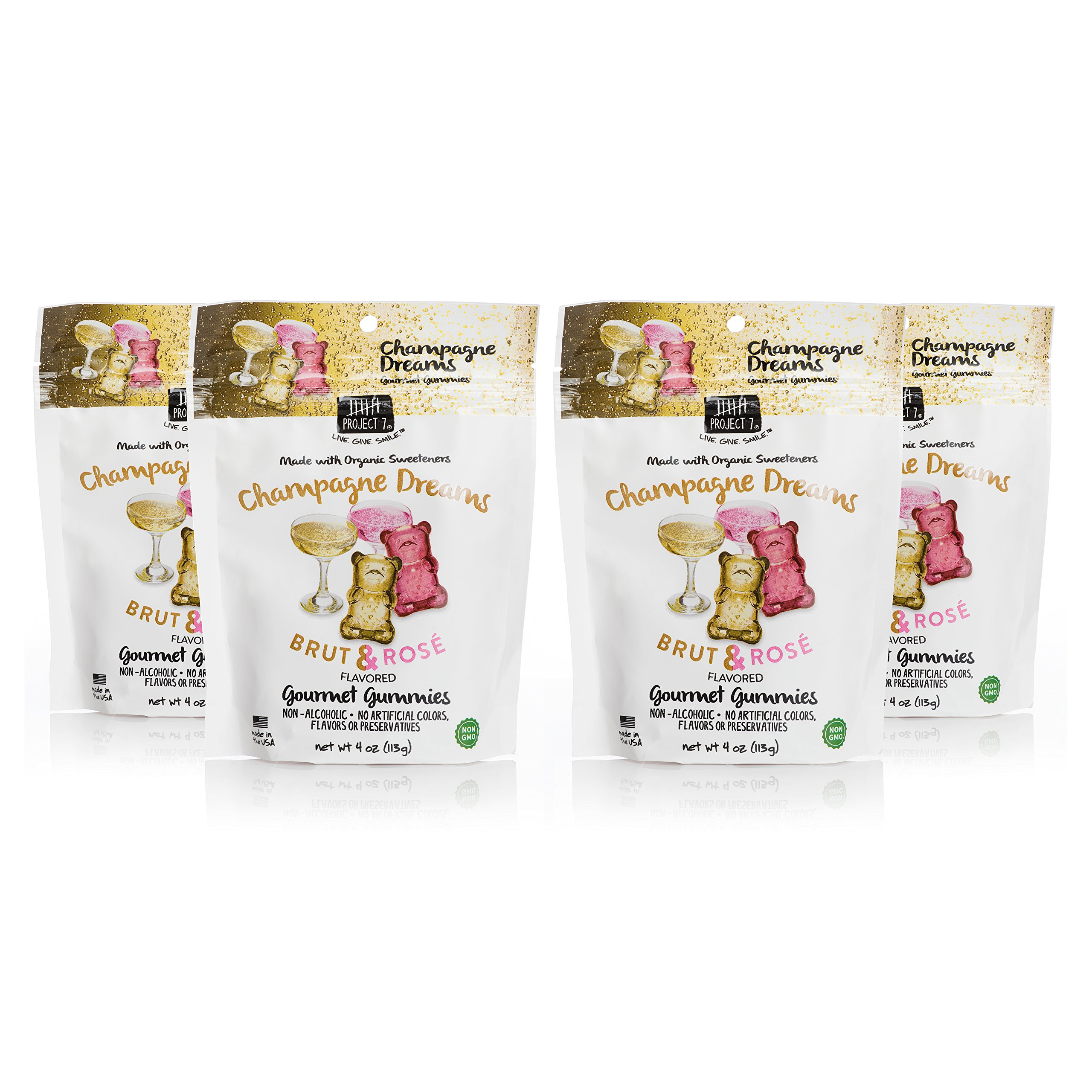 Project 7 Natural Gourmet Gummies in Champagne Dreams, 4 Pack of 4 Ounce Pouches