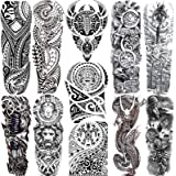 11 Sheets NEZAR Maori Temporary Tattoo Sleeve For Men Adults Tiki Turtle Manta Waterproof Fake Tattoo Sleeves For Women Black