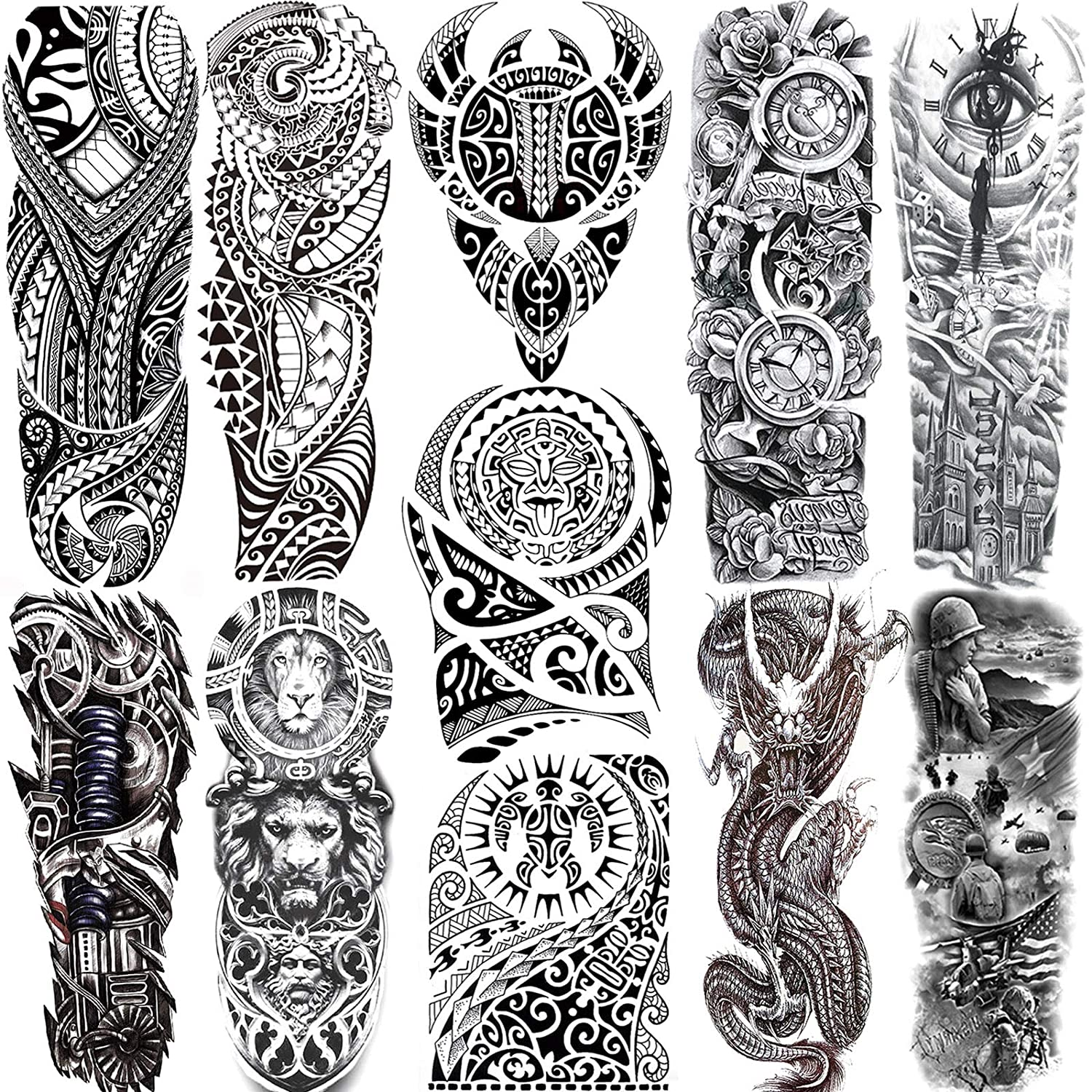 11 Sheets NEZAR Maori Temporary Tattoo Sleeve For Men Adults Tiki Turtle Manta Waterproof Fake Tattoo Sleeves For Women Black Dragon Totem Tribal Military Long Full Sleeve Tattoos Temporary Stickers