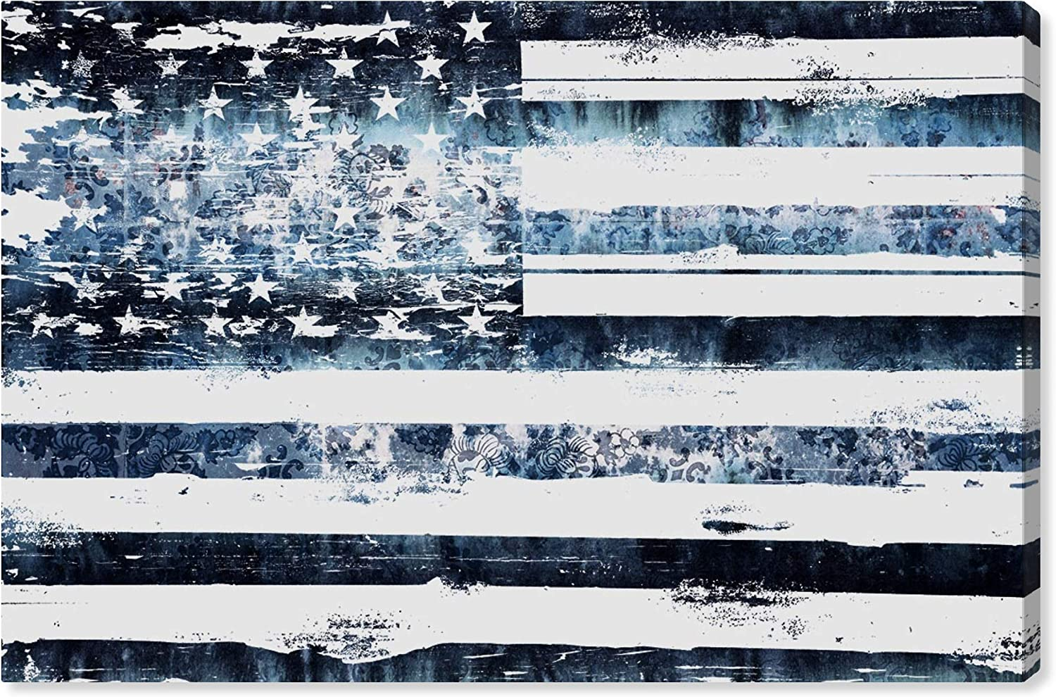 The Oliver Gal Artist Co. American and Patriotic Wall Art Canvas Prints 'Surf Flag' Home Décor, 24