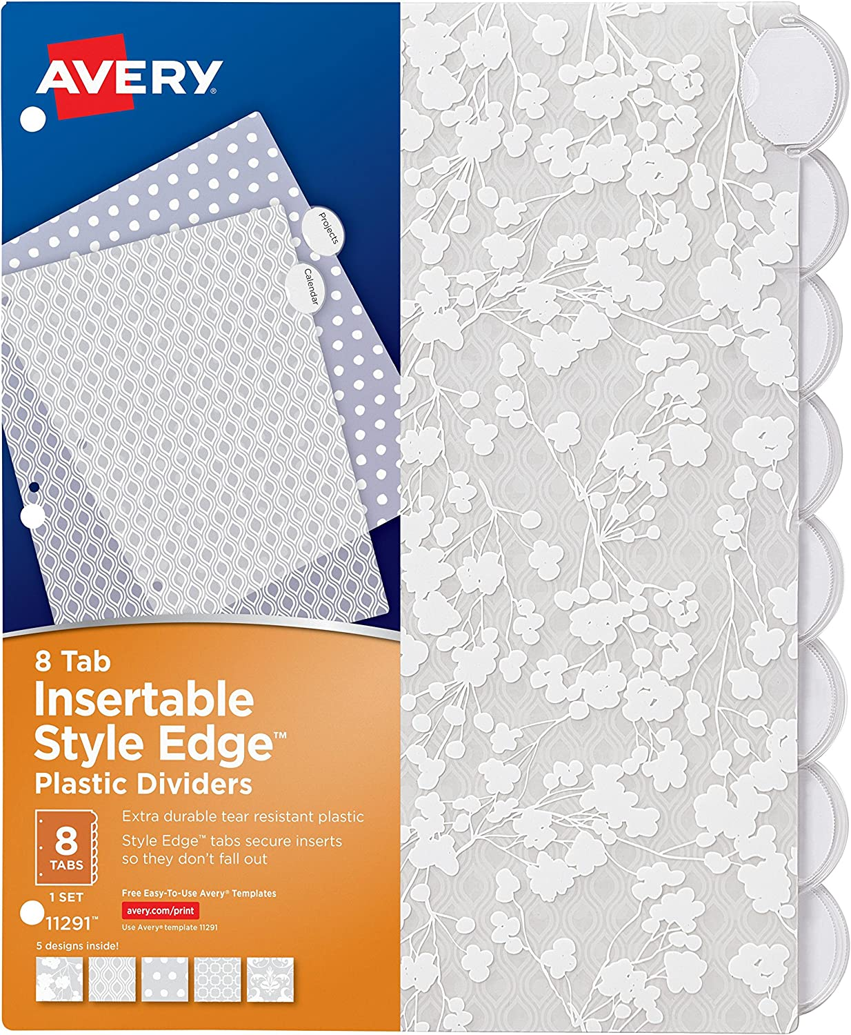 Avery Style Edge Insertable Plastic Dividers, 8 Tabs, 1 Set, Assorted Fashion Designs (11291)