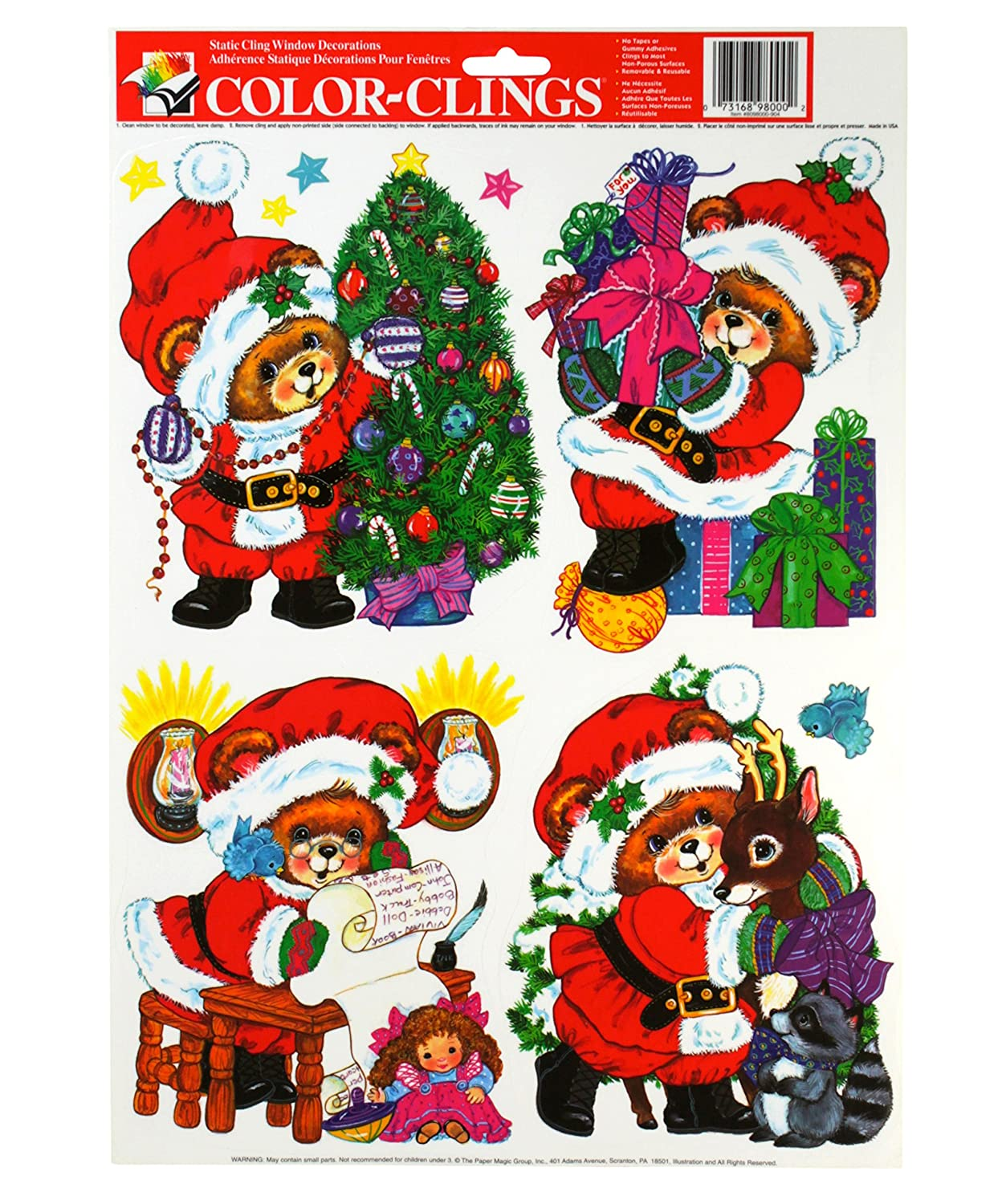 Amazon.com: PAPER MAGIC Static Cling Window Christmas Decorations ...