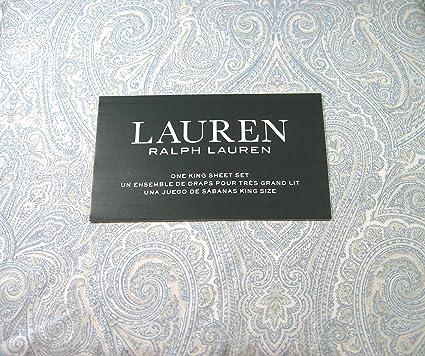 Amazon Com Lauren 4 Piece King Size Sheet Set Paisley Floral Blue