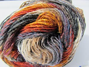 Noro Silk Garden Sock, S349 - Black-Grey-Maroon-Orange-Tan
