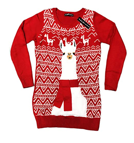 Festive Embellished Holiday Llama Womens Red Tunic Ugly Christmas