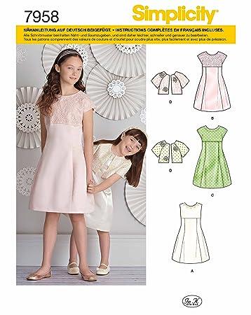 Simplicity 7958.K5 Schnittmuster Kleider (Kinder-Mädchen, Gr. 127 ...