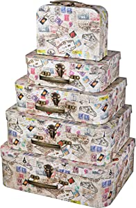 Soul & Lane Decorative Cardboard Suitcase Boxes (Set of 5) | World Traveler Theme with Handles | Paperboard Boxes with Lids for Organizing