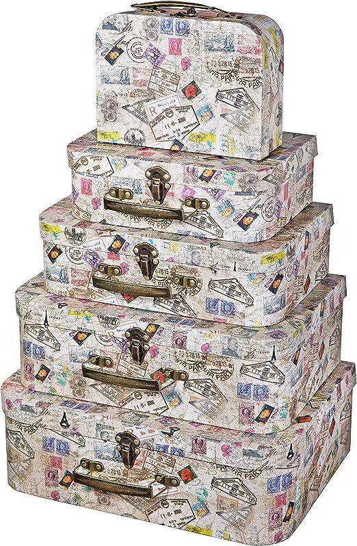 SLPR Cajas Decorativas de Maleta de cartón con Asas de ...