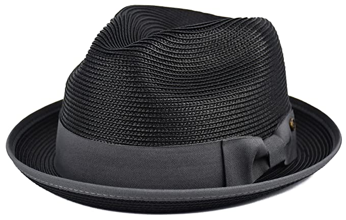936466061c05e Mens Summer Fedora Hat Poly Braid Bound Edge Crushable Porkpie Hat (Black
