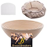 """Bread Breakers Premium 10"""" Round Banneton Proofing Basket Set - French Style Artisan Bread Bakery Basket - 4"""" Depth - Cloth Liner & Dough Scraper/Cutter Included - For Professional & Home Bakers"""