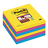 Post it Notes 100 x 100 mm Super Sticky Notes Pad, Lined, Rio Colour Collection, 6 Pads (90 sheets per pad)