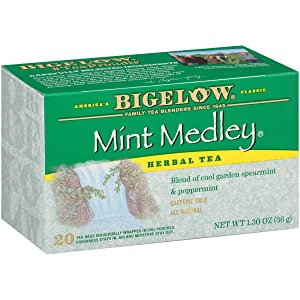 Bigelow Mint Medley Herbal Tea Bags 20-Count Boxes (Pack of 6), 120 Tea Bags Total.Caffeine-Free Individual Herbal Tisane Bags, for Hot Tea or Iced Tea, Drink Plain or Sweetened with Honey or Sugar