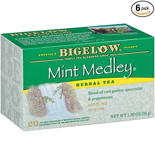 Bigelow Mint Medley Herbal Tea Bags 20-Count Boxes (Pack of 6), 120 Tea Bags Total.  Caffeine-Free Individual Herbal Tisane Bags, for Hot Tea or Iced Tea, Drink Plain or Sweetened with Honey or Sugar