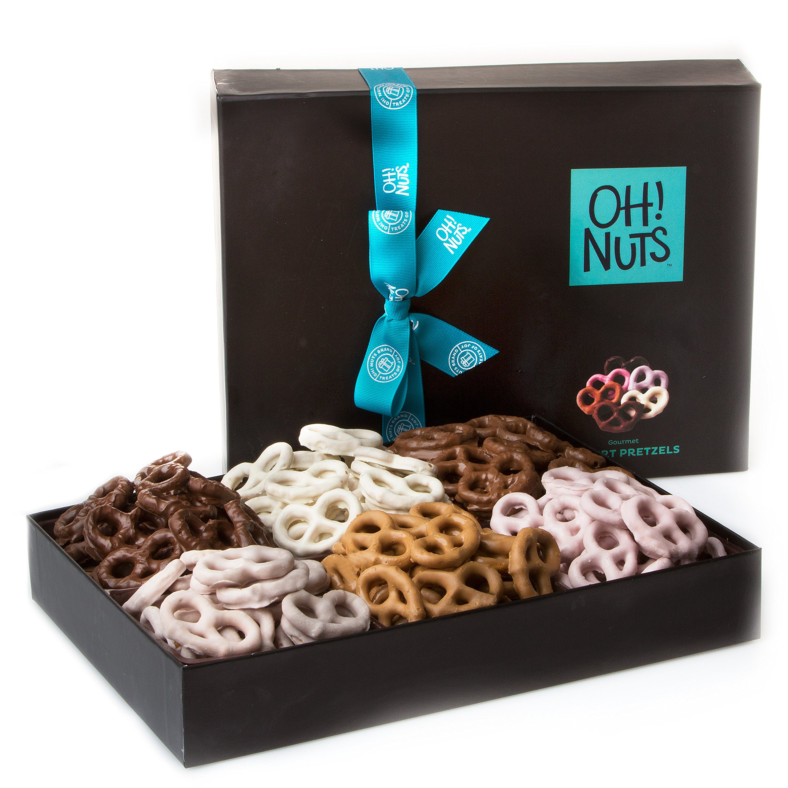 Oh! Nuts Chocolate Covered Pretzels Gift Basket, 6 Variety Assorted Flavored Set of Yogurt, Milk & Dark Gift Box, Send for Christmas Holiday Valentine's or Mother's Day a Sweet Treat for Men & Women by Oh! Nuts® (Image #4)