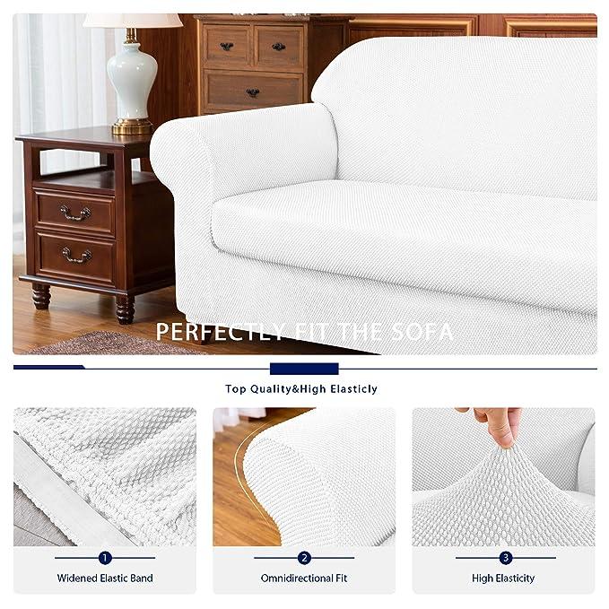 Amazon.com: subrtex 2-Piece Granule Jacquard Sofa Slipcover ...