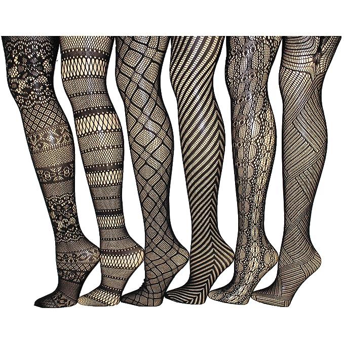 Amazon.com: Paquete de 6 elegante mujer medias de rejilla ...