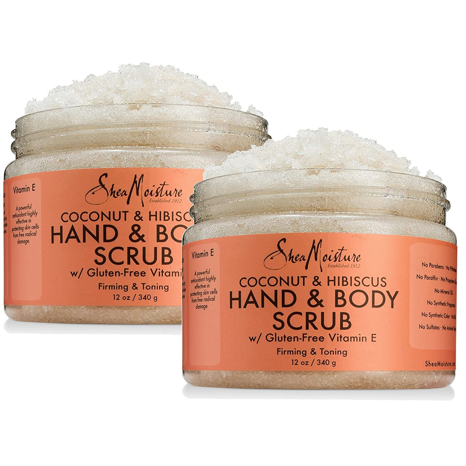 Shea Moisture Coconut & Hibiscus Hand & Body Scrub, 12 Oz, Pack of 2 : Beauty