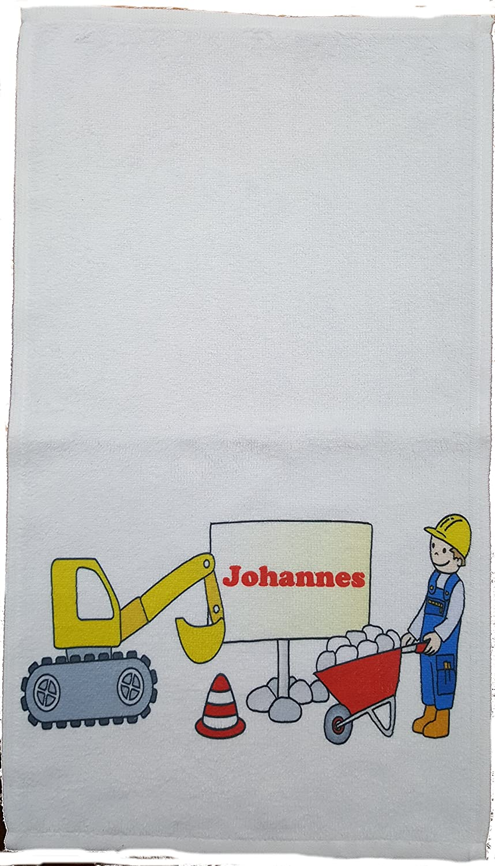 Kinderhandtuch Bagger mit Wunschname - personalisiertes Handtuch- Baustelle Kiala 30x50cm Gä stehandtuch Bauarbeiter Kilala
