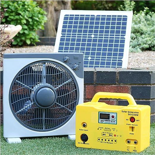Ventilador solar de 12 V 40 W DC + batería de reserva + bombillas ...