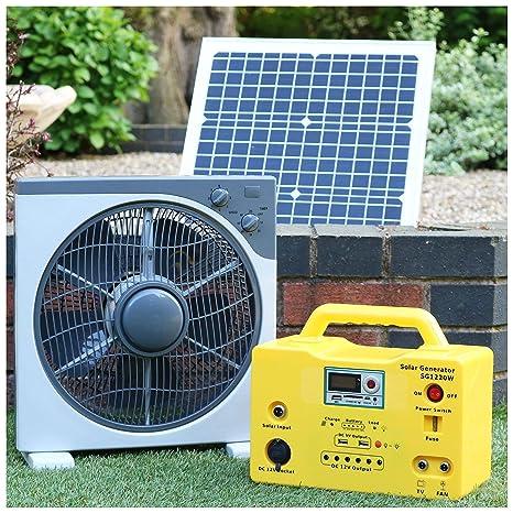 Ventilador solar de 12 V 40 W DC + batería de reserva + bombillas LED portátil ...