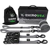 RHINO USA Ratchet Straps Tie Down Kit, 5,208 Break Strength - Includes (2) Heavy Duty 1.6' x 8' Rachet Tiedowns with…