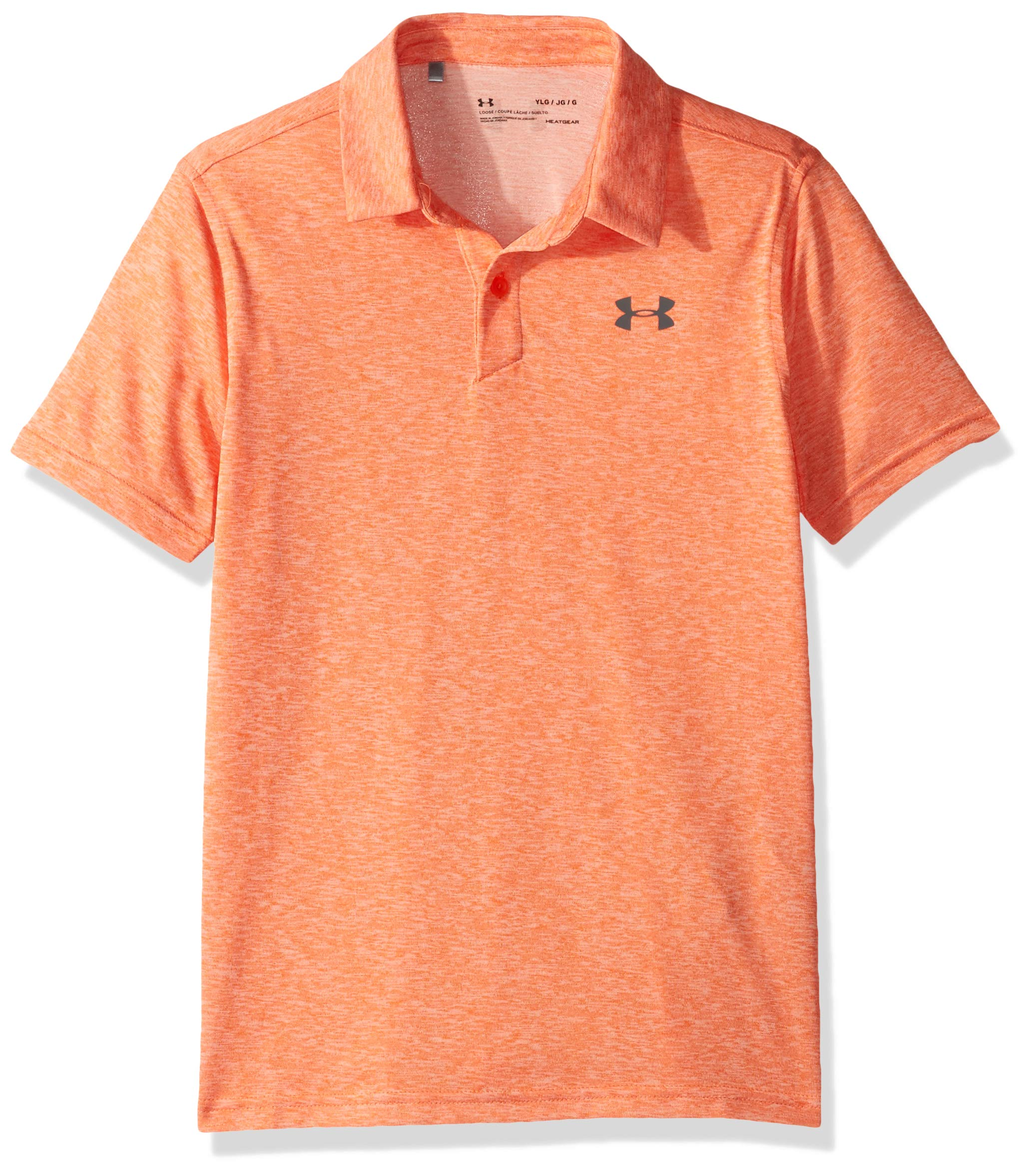 Under Armour Tour Tips Polo, Papaya Light Heather//Pitch Gray, Youth X-Large by Under Armour