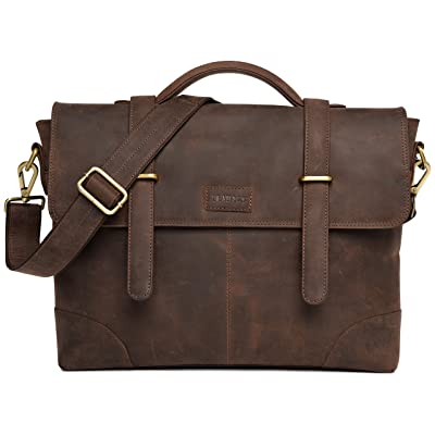 LEABAGS Liverpool genuine buffalo leather briefcase in vintage style