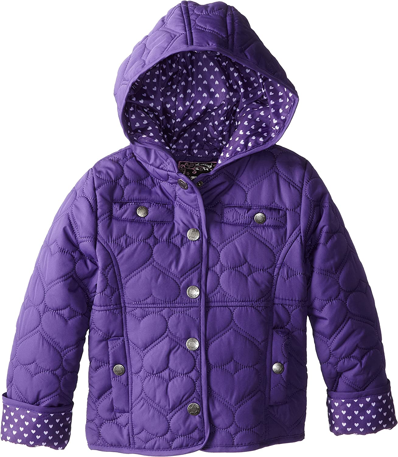 YMI Baby Girls Hooded Heart Quilted Jacket