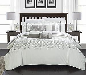 Chic Home Lauren 8 Piece Comforter Set, Queen, White