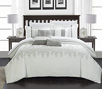 pleated comforter sets kitchen blue set com collection piece white torino home piecing dp king luxury bedding chic amazon