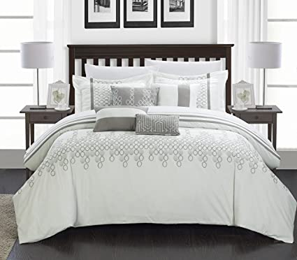 dd62b6647aa6 Amazon.com: Chic Home 8-Piece Lauren Contemporary Comforter Set, King,  White: Home & Kitchen
