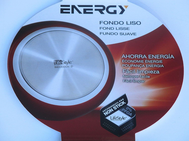 Life Style - Sarten de Aluminio Energy - 26 cms - Fondo Liso - Rojo: Amazon.es: Hogar