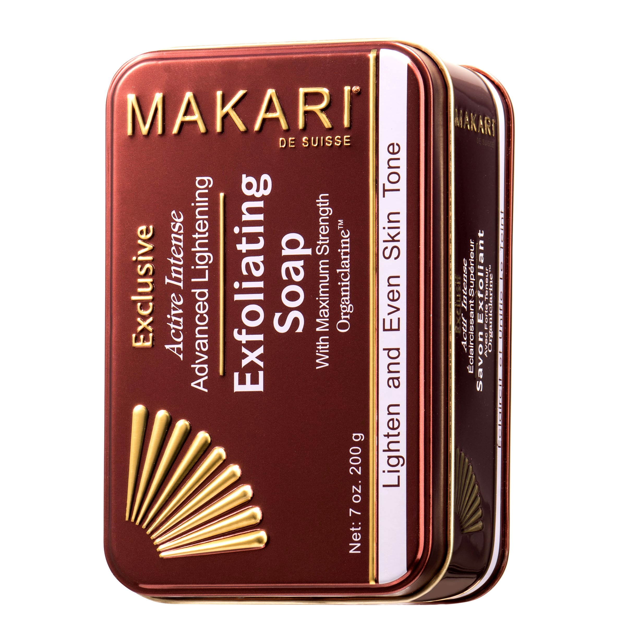 Makari Exclusive 7oz. Skin Lightening & Exfoliating Bar Soap with Organiclarine - Advanced Active Intense Whitening Treatment for Dark Spots, Scars, Sun Patches, Stretch Marks & Hyperpigmentation by MAKARI