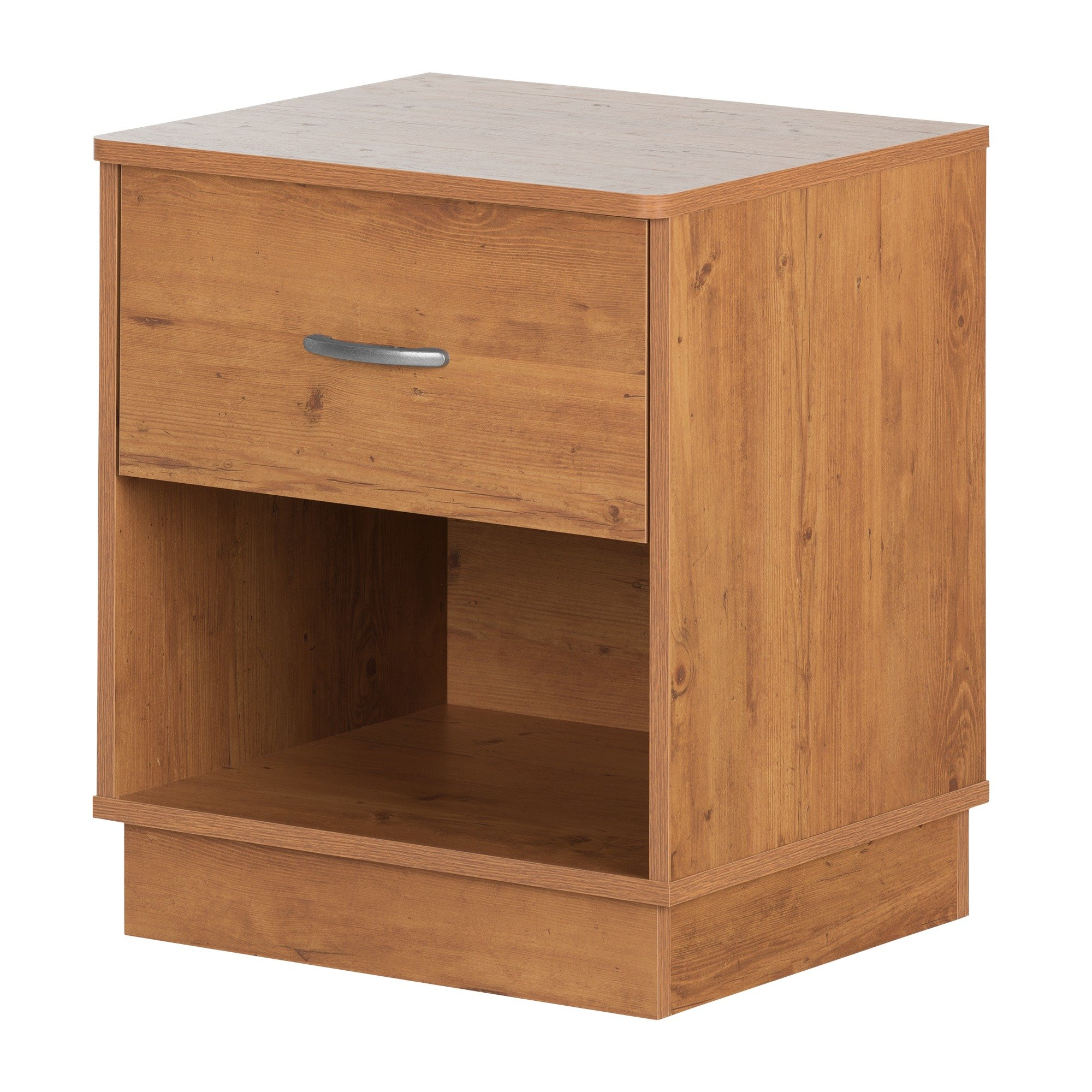 South Shore Logik 1-Drawer Nightstand, Country Pine with Metal Handle