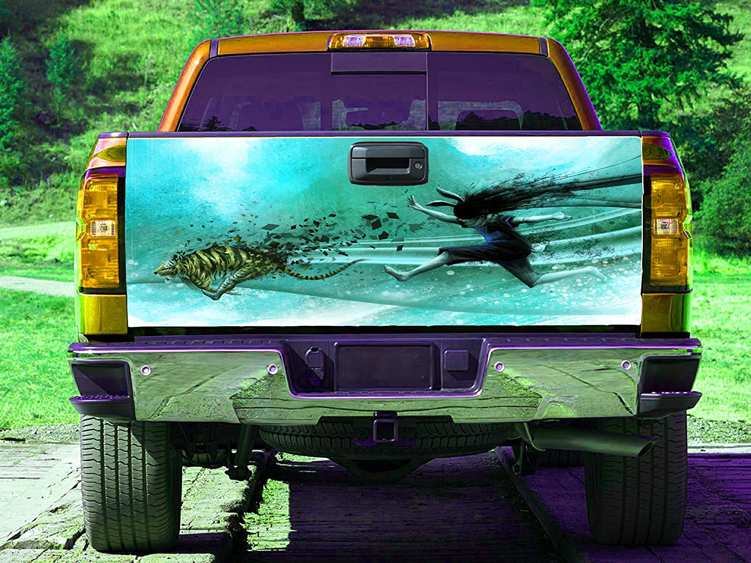 Amazon.com: Anime girl tiger Tailgate Wrap, Truck Decal, Tailgate ...