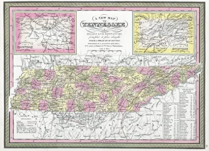 Amazon world atlas 1849 new map of tennessee with its canals world atlas 1849 new map of tennessee with its canals roads distances gumiabroncs Choice Image