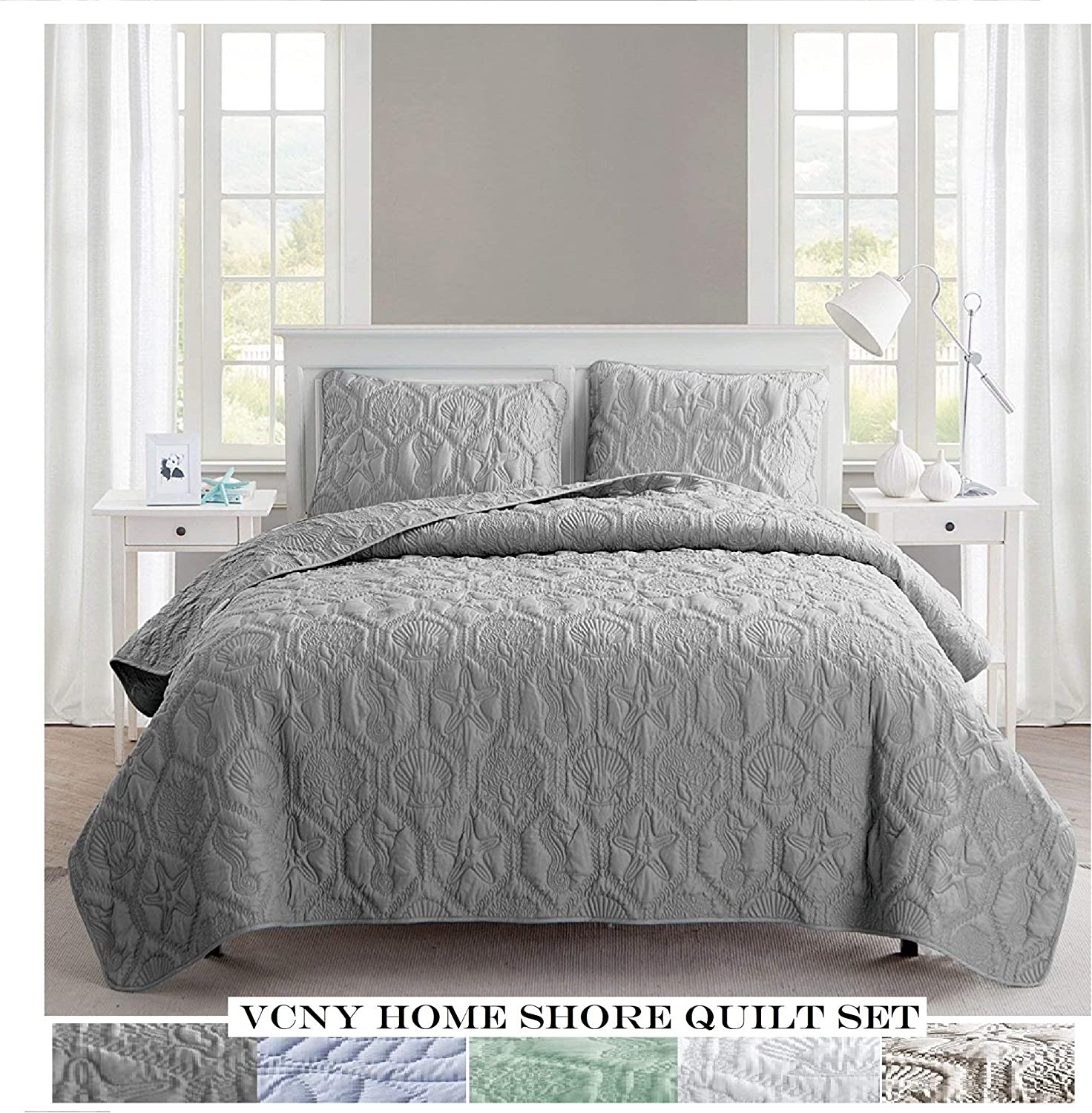 VCNY Home Shore Quilt Set, King, Grey