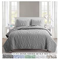 VCNY Home Aviary 3 Piece Cotton Set in Charming Beach Beautiful Blanket with Quilt,
