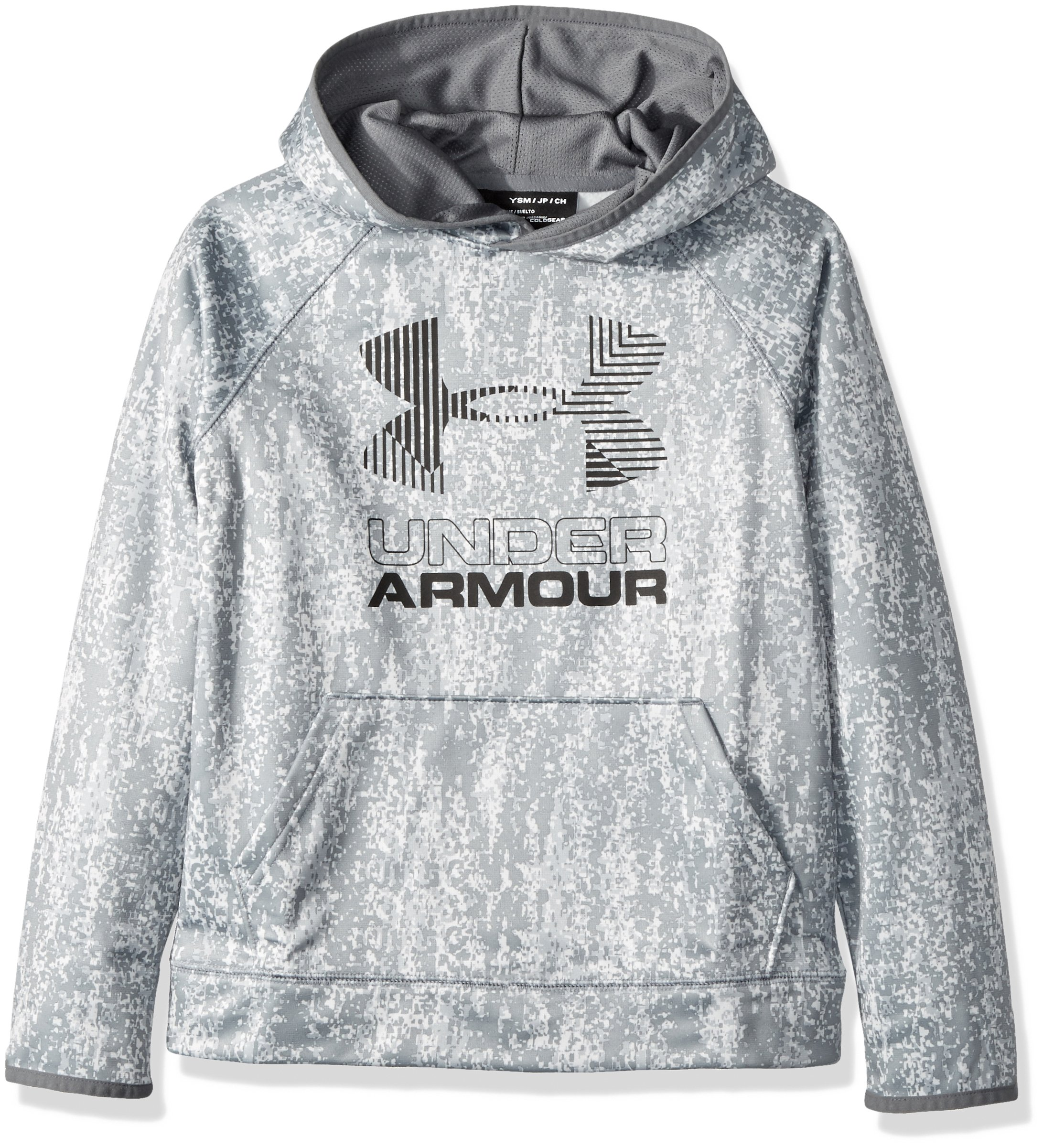 Under Armour Boys' Armour Fleece Printed Big Logo Hoodie, Overcast Gray /Graphite, Youth Small by Under Armour