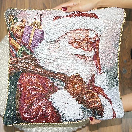 Just Contempo Navidad búho Bordado Funda de cojín, Vintage ...